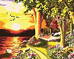 [ New Release ] Diy Oil Painting by Numbers, Paint by Number Kits - Stunning Sunsets Landscape Scenery 16*20 inches - Digital Oil Painting Canvas Wall Art Artwork Landscape Paintings for Home Living Room Office Christmas Decor Decorations Gifts - Diy Pain