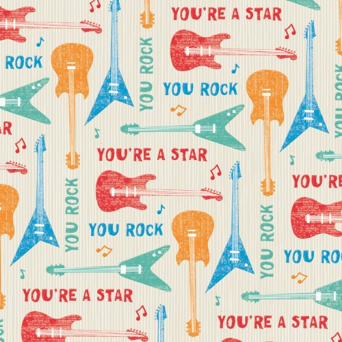 2 Sheets Male You Rock Guitars Wrapping Paper & 1 Matching Gift Tag