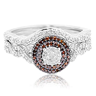 Rings-MidwestJewellery.com Women's 1/3Cttw Diamond Halo Bridal Set Cognac And White Diamonds 10K White Gold 2Pc