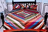 Handmade Traditional Indian Silk Luxury Queen Size Bedcover Bedspread Set