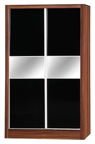 Alpha Black High Gloss & Walnut Effect 2 Door Sliding Wardrobe Mirrored Bedroom Unit