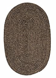 Chenille Braided Rug 2ft. x 4ft. Oval Black Check Soft Bedroom Rug