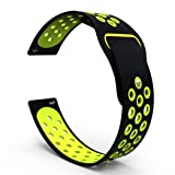 B-Great 20mm Quick Release Breathable Watch Band Compatible with Samsung Galaxy Watch (42mm) Garmin Vivoactive 3 Music Garmin Forerunner 645/Music Ticwatch 2/E Amazfit Bip Smartwatch, Black/Lime (Color: Black/ Lime, Tamaño: Medium)