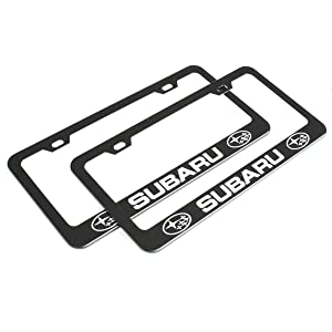 for Subaru(Matte Black) 2Pcs Newest Matte Aluminum Alloy Subaru Logo License Plate Frame,with Screw Caps Cover Set,Applicable to US Standard car License Frame