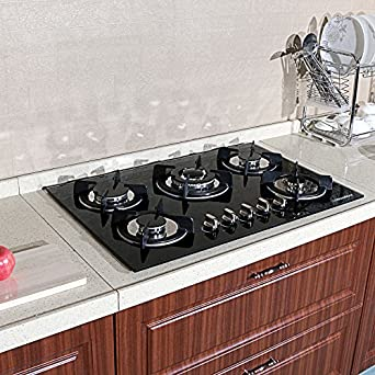 Countertop Glass Stove Top : ... Fashion Black Tempered Glass Built-in Kitchen 5 Burner CookTop Gas Hob