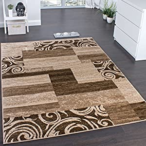 Designer Rug for Living Room Interior Decoration Rug Flecked Beige Brown by Paco Home