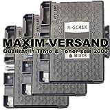 3 XXL Gel Druckerpatronen für Ricoh GC-41K Schwarz / Black...