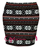 NEW WOMEN LADIES CABLE KNITTED SNOWFLAKE AZTEC SHORT MINI PENCIL MIDI SKIRTS