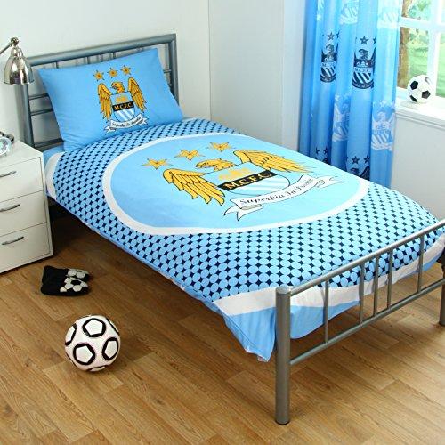 Official Football Team-Crest Piumino e cuscino serie (diverse squadre e dimensioni a scelta Tutti i piumini sono fornite di confezione originale!, Manchester City FC (Reversible), Singolo