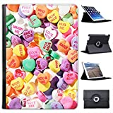 Love Hearts Sweets Miss You Hug Me For Apple iPad Air 2 Faux Leather Folio Presenter Case Cover Bag with Stand Capability