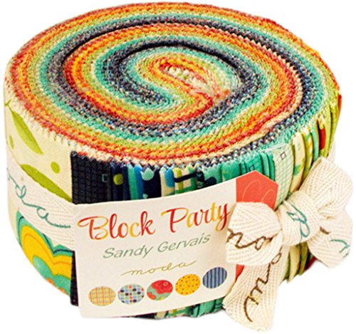 Block Party By Sandy Gervais Moda Jelly Roll, Set of 40 2.5x44-inch (6.4x112cm) Precut Cotton Fabric Strips