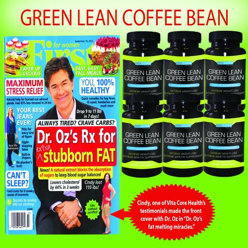 Green Lean Coffee Bean 6 Month Supply Thermogenic Green Coffee Bean Extract Green Coffee Bean seen in FFW article Aug 2012