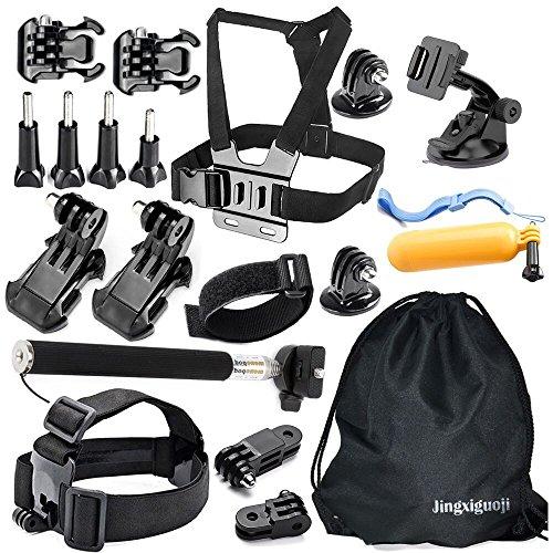 JingXiGuoJi 20-in-1 Universal Outdoor Sports Action Video Camera Accessories Kit Bundles Set for GoPro Black Silver Session Hero 4 3 2 1 SJ4000 SJ5000 SJ6000