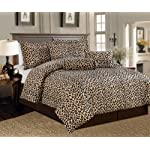 Legacy Decor Beautiful 7 Pc Leopard Print Faux Fur, King Size Comforter Bedding Set