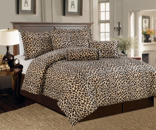 Beautiful 7 Pc Leopard Animal Print Faux Fur, King Size Comforter Bedding Set front-718458