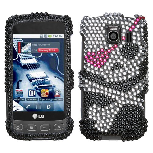 Black with Silver Skull and Heart Pirate Girl Sparkling Luxury Rhinestones Full Diamond Bling LG Optimus S LS670 Sprint Snap on Cell Phone Case + Microfiber Bag