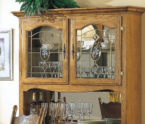 Oak Dining Room Hutch: Antique Hutch: Country Style Solid Oak Wood Dining Room