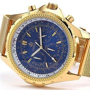 New Orkina Luxury Analog Steel Mesh Mens Stopwatch Quartz Sport Wrist Watch - Blue