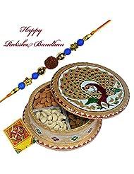 Rajlaxmi_Stunning Rudraksha Rakhi With Dry Fruit Box