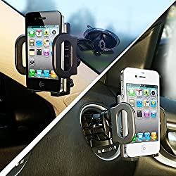 2-in-1 Mobile Phone Car Mount, Holder, Cradle [UPGRADED COMPONENTS], Secure Cell Phone/GPS to Vehicle's Windshield or Air Vent, Padded, Adjustable Grips, Fits Iphone 6 6+ 5 Galaxy S6 S5 Smartphones from Easy-Tech