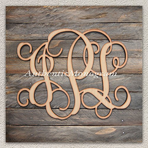 "Wooden 3 Letters Momogram Mounted On Vintage Weathered Board, Home Decor, Wedding Decor, Initial Monogram, Wall Hanging. (12"") front-908707"