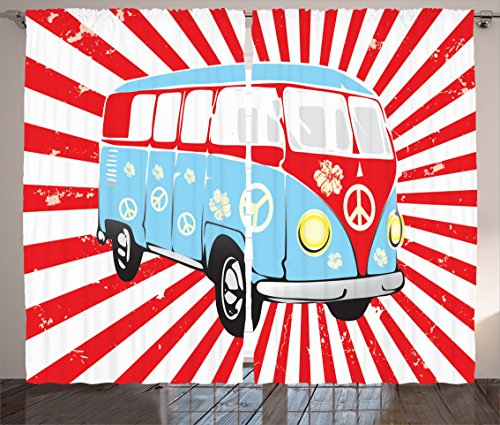 Ambesonne 1960s Decorations Collection, Retro Van on Striped Background Dated Old Fashion Oldtimer Transportation Vacation Image, Living Room Bedroom Curtain 2 Panels Set, 108 X 84 Inches, Red (60s Background)