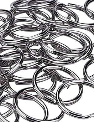 HoneyToys 200PCS 1(25mm) Nickel Plated Silver Steel Round Split Circular Keychain Ring for Car Home Keys (Color: Silver)