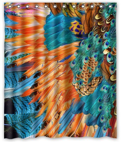 unique custom abstract peacock feather art waterproof fabric polyester shower curtain 60