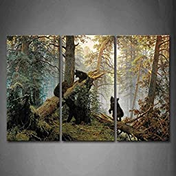 Canval prit painting Bears Play In Forest Broken Tree The Picture Print On Canvas Animal Pictures