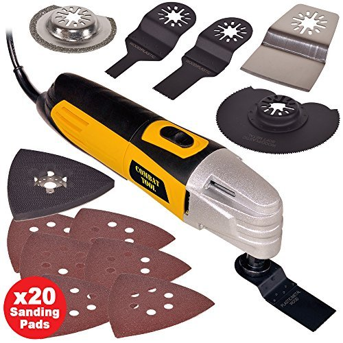 61M7W98wO1L - BEST BUY #1 Wolf 260w Multi Function Oscillating Combat Tool With 27 Piece Accessory Kit Includes Cutting Discs, Blades, Sander Sheets