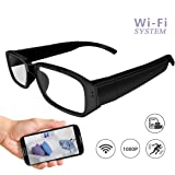 Wi-Fi Hidden Camera Glasses 1080P Full HD Spy Camera Motion Detection Activated Real-time Video Remotely APP Viewing (Color: white)