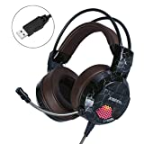 XIBERIA E1 USB Gaming Headset with Microphone,Over Ear Wired Stereo Computer Headphones, Volume Control Enhanced Bass Noise Canceling Flexible Headband with LED for PC PS4 Laptop and Mac(Brown (Color: Brown)