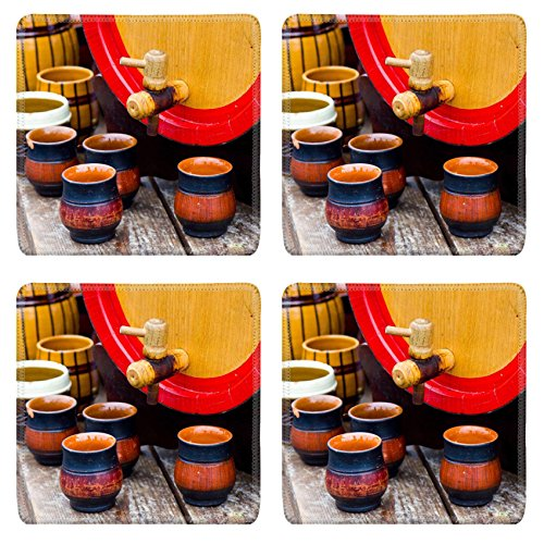 Liili Square Coasters 4 Pieces per order wooden barrel with group of ceramic pottery IMAGE ID 11075368