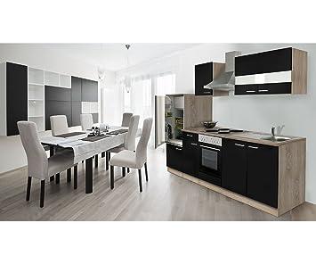 Respekta KB150WGMI Kitchen Unit Sonoma Oak/Empty Kitchen/Empty Units/270cm black