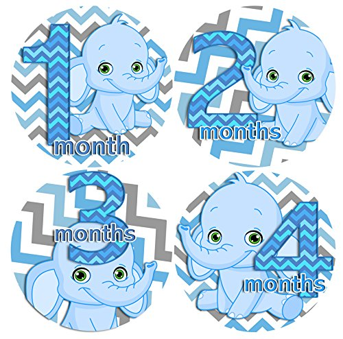 CHEVRON BLUE ELEPHANTS BLUE BOY 1-12 Months Baby Monthly One Piece Stickers Baby Shower Gift Photo Shower Stickers