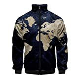 Men 3D Printed Coat, NDGDA Unisex Front Zipper Long Sleeve Baseball Jacket World Map Cardigan Standing Collar Tops (Color: Dark Blue, Tamaño: XS)