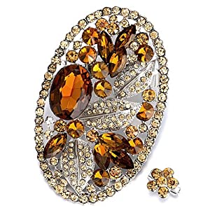 Pugster Vintage Oval Shinning November Birthstone Topaz Crystal Flower Brooches And Pins