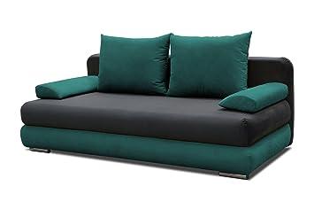 Schlafsofa Celino in grau / turkis mit Bettfunktion und Staukasten - Abmessungen: 205 x 95 cm (B x T)