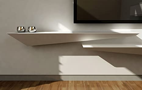 Wall shelf 110x30 in matt white lacquered wood (Left)