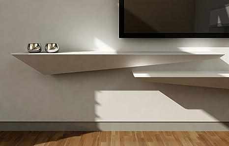 Mensola design porta TV a muro parete - legno laccato bianco opaco - 160x30 sinistra