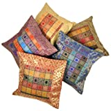 Little India Hand Embroidery Brocade Work Silk 5 Piece Cushion Cover - Multicolor (DLI3CUS449)