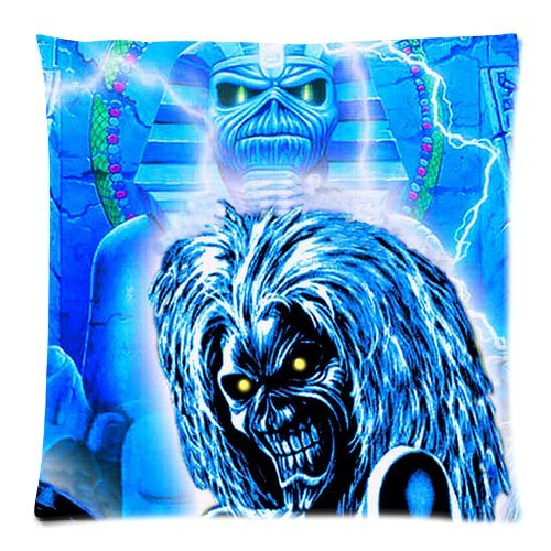 Custom Cotton & Polyester Soft Square Zippered Cushion Throw Case Pillow Case Cover 18X18 (Twin Sides) - Music Star Band Series - British Metal Band Iron Maiden - Album Cover Poster Creepy Thriller Skeleton Skull Personalized Pillowcase - Forever Collecti