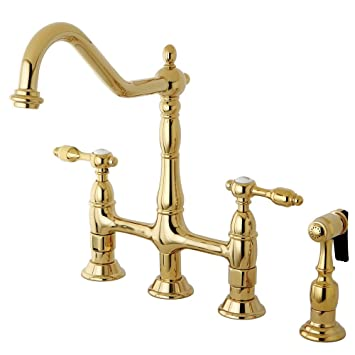 Kingston Brass KS1272TALBS Tudor 8 Inch Center Kitchen Faucet With Brass Sprayer, Polished Brass, 8-3/4 inch in Spout Reach, Polished Brass
