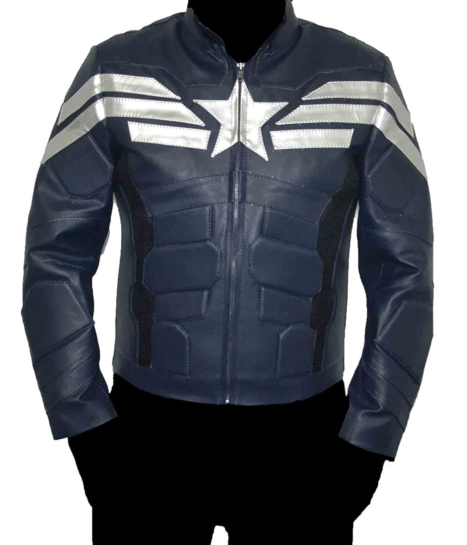 Captain America Winter Soldier dark blue Real Sheep leather jacket Best Christmas Gift online bestellen