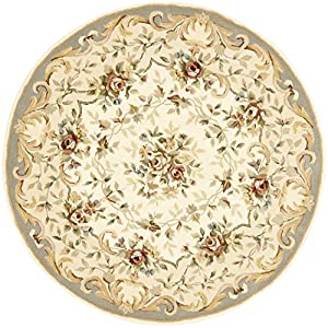 Safavieh FT217C Handmade Ivory and Light Blue Hand-spun Wool and Silk Round Area Rug, 4-Feet
