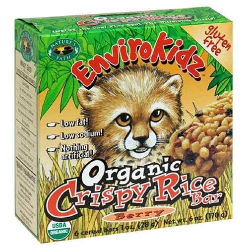 EnviroKidz Organic Cheetah Crispy Rice Berry Bars, 6-Count Bars (Pack of 6)