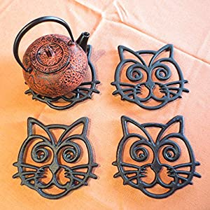 Cat Trivet - Black Cast Iron - for Kitchen & Dining Table - More than One Makes a Set for Counter, Wall Art or Decoration Accessory - Housewarming & Cat Lover Gifts - 7.1 by 6.6 In