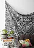 Black and White Tapestries Elephant Mandala Hippie Tapestry...