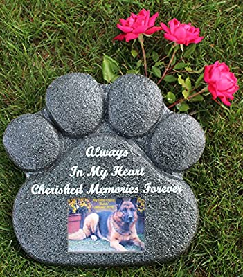 Paw Print Pet Memorial Stone with rear storage compartment for ashes and keepsakes