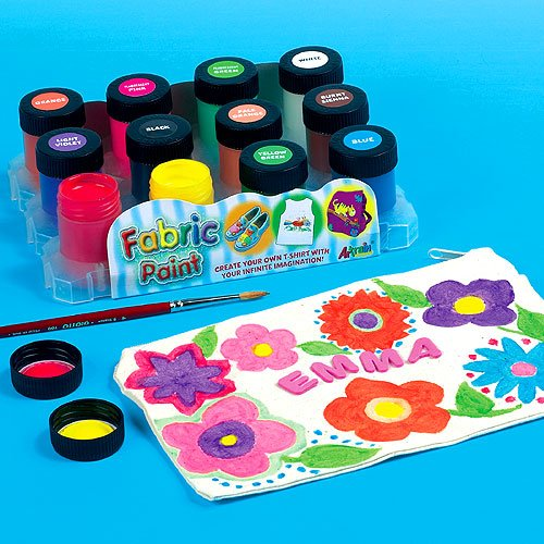 water-resistant-fabric-paint-12-assorted-colours-18ml-pots-for-childrens-painting-fabric-crafts-pack